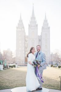 An Image of a Bridal Portrait Taken at the Salt Lake City Temple in Utah