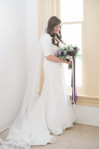 An Image of a Bridal Portrait at the Little White Chapel in Salt Lake City, Utah